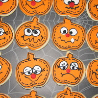 Halloween Pumpkin Cookies NFSC (first time using this recipe and it was great!) with RI and fondant. Cutout sugar cookies are so much work, but so worth it when they...
