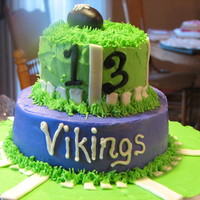 Vikings   just a short notice, throw together cake! didn't have time to smooth the bc or anything, but he loved it!