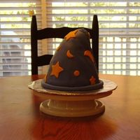 "Wizard Hat Baked in a bowl, and shaped the top with rice krispies treats. It's supposed to have an old look to it with the ""patch"""