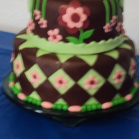 Green, Brown And Pink Shower Cake