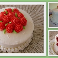Roses Are Red Final cake for wilton course 1. It's a red velvet cake with cream cheese filling