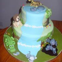 Jungle Cake for my sister's baby shower. the crocodile is eating a bunny as a tribute to my first cake ever which was a giant crocodile eating a...