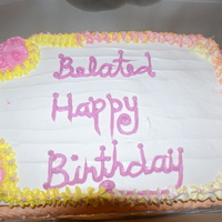 Co-Worker B-Day Cake This was the first cake I have ever done with whipped icing. Half chocolate and half vanilla.