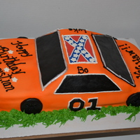 General Lee  For my nephews 7th birthday and he was so excited!! I used 2 9x13 chocolate cakes. I left one whole and added about 1/3 of the other one to...