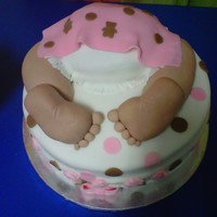 Baby Butt Chocolate chip rasberry cake flavor with raspberry filling covered in fondant, baby feet is made out of rice crispies the legs is cake.