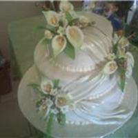 Apple Green And Ivory   calla lilies and fondant draping