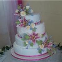 Fuschia Fun   four tiered fruit cake with fuschia sugar lilies