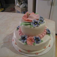 Flower Baby Cake  This is one of the first cakes that I have attempted. It was for my sister-in-laws baby shower. The flowers are made from gum paste, the...