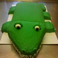 Alligator Alligator that I made for a birthday. It took 5 batches of cake to make this cake. But I learned an important lesson...cover the individual...