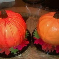 Pumpkin Cakes these are my pumpkin cakes, first time i have ever attempted this!!! choc mud and pumpkin both covered in fondant, one is satin ice, i...