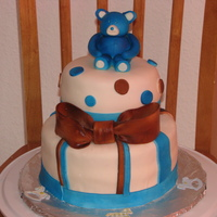 """baby Bear"" Baby Shower Cake 2 Tier Confetti Cake covered in MMF. Decorated with MMF. First Fondant Character! I thought it turned out ok =) Colored with airbrush..."