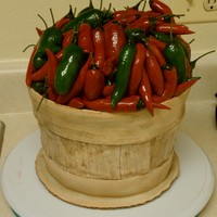 Chili Basket Cake   This is an old fashion style fruit basket full of various types of chilies.