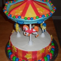 Carousel Carousel Kit by Wilton used. Took a long time, but worth every minute! My son's 1st Birthday was great!