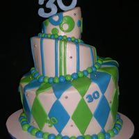 Topsy Turvy 30Th Birthday Made for a friend's brother. Bottom white cake, middle choc, top combo of the two! Bc icing w/mmf decos and gp 30. The mmf is shiny...
