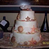 Beach Theme Wedding 6/9/12-red velvet, french vanilla, chocolate w/bc icing, chocolate shells dusted with luster, pearl and petal dusts, royal icing coral and...