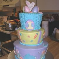 Easter 1St Birthday Easter themed 1st b-day cake for my nephew. Only wish it had made it to the party like this. Had a caketastrophy on route. My construction...
