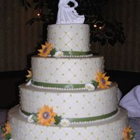 Sunflower Wedding Cake 6/10/14/18-top-dk choc, 2 tiers strawberry, bottom tier yellow to feed 230. Gp sunflowers and daisies, candy pearls, real ribbon. Original...