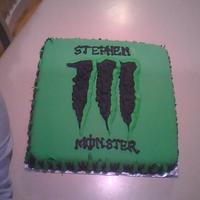 """monster"" Logo Cake I messed up his name and fixed it the best I could. I thought it was spelled ""Steven"", it was ""Stephen"" butr its all..."