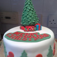 Tree And Presents! Rich fruit cake marzipan and fondant. Rest you can see! Made the tree by moulding the tree by snipping around the tree with scissors and...