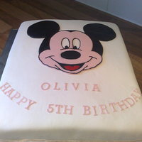 Mickey Mouse   Another sheet cake with Mickey Mouse shapes cut out of fondant. A quick and easy cake to make