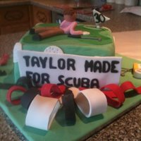 Golf Theme Cake   This was made from a photo the girl had given me for her Husbands cake!