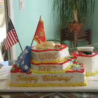 235Th Usmc Birthday I am a complete amateur but I am proud of this white cake with almond buttercream frosting, fondant accent pieces include rope around...