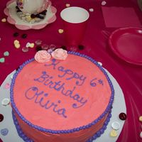 Olivia's Birthday Cake   Just a pink cake for my daughter. My ten year old daughter did the roses!