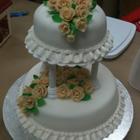 Two Tier Wedding Cake With Ivory Roses