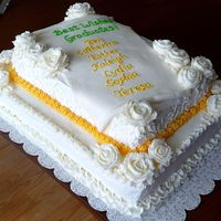 White 2-Tier Graduation Cake I made this cake for a friend's daughter's homeschool graduation. All decorations are buttercream, except the scroll, which is...