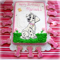 Dalmatian Birthday Cake Made for my daughter's 5th birthday - copied the puppy from a picture and added the rest of the details. Homemade strawberry cake with...
