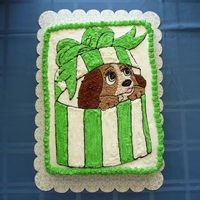 Lady And The Tramp Birthday Cake This is a half sheet cake. I freehanded the picture with a toothpick, copying one I found online and then piped on the frosting. My 3-year...