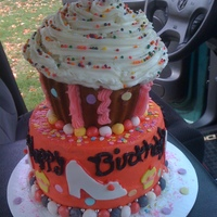 Birthday Cake All buttercream with mmf accents. Large cupcake on top