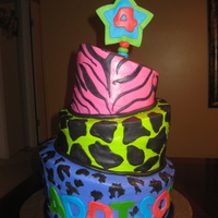 Topsy Turvy Neon Animal Print This cake is my 2nd topsy turvy but first 3 tier one. Its neon animal print for a little 4 year old girl that is having a rockstar party...
