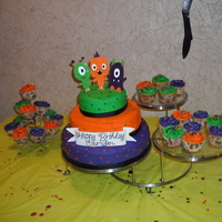 Halloween Birthday This is my second cake...My sister made the banner and monsters from clay...