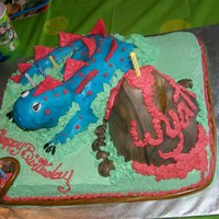 "Dinosaur Cake  This was a Homemade Chocolate Mayo Cake with a Rice Crispies Treat Dinosaur Covered in MMF. The rest was frosted in Homemade ""best..."