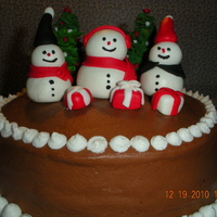 Chocolate Snowmen   Choc cake w/ choc fudge frosting. MMF snowmen, sugar ice cream cones with royal icing.