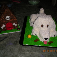 Shaggy Dog  First try at a shaggy dog cake. The head and ears wouldn't cooperate! The next time we will go with fondant ears and tail. Dog was...