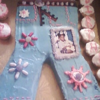 Blue Jean Birthday Cake For My Neice Red Velvet cake with Creme Cheese Frosting. First Attempt at decorating after being addicted to Ace of Cakes! Lessons learned: cut crotch...