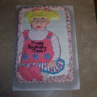 Baby Doll Cake Half sheet cake I made for my grandaughters 4th birthday. She wanted a doll that looked like this and she wanted her cake to look like the...