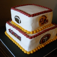49Ers Cake Marbled cake with buttercream frosting and frozen buttercream transfers. 6 inch and 8 inch tiers