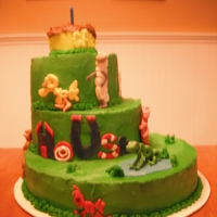 Wordworld Cake SMBC with fondant animals and buildings.