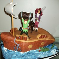Peter Pan & Captain Hook Made this for my brother Peters birthday. Sponge cake with hazelnut filling. All is edible but the sail mass and some wooden dowels. Tfl