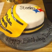 Steelers Birthday   birthday cake for my boyfriend's brother... chocolate cake with chocolate fudge filling. covered in fondant.