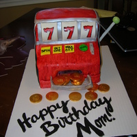 "Slot Machine Birthday yellow cake with classic buttercream filling. cut 4 9x13"" cakes to be 8x9""... stacked those and used 3 of the smaller pieces for..."