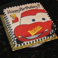 Lightning Mcqueen cake to go with the cookies....all BC