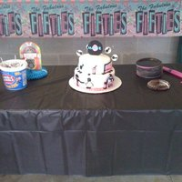 Birthday Fifties Sock Hop This cake was made for a little girl having a sock hop for her birthday. The cake was white covered in MMF and accents were also made out...