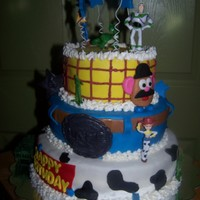 Toy Story All white cake, covered in MMF. Mr. Potato Head is MMF other characters are toys. This cake was taken from other photo ideas. I do not know...