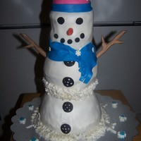 "Snowman This cake was requested as a birthday cake for an 88th birthday! The cake is 3 layers white cake covered in BC and MMF. The ""hat&quot..."