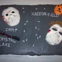 "Jason And Michael Myers this cake was made for a lady that wanted a gift for her friend for halloween the icing is buttercream and ""masks"" are made from..."