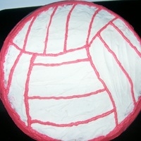Volleyball I did this (also) for my sisters volleyball team party,This is a cookie cake.The base is white and i free-handed the lines with a toothpick...